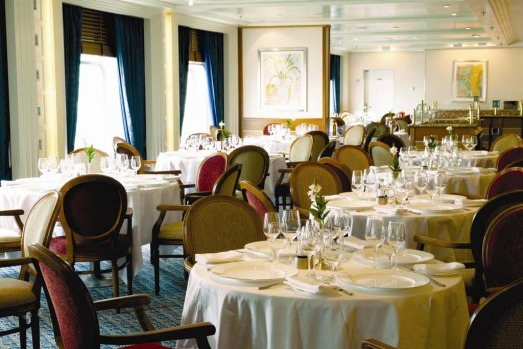 The Restaurant aboard the Silver Whisper seats 424 guests.