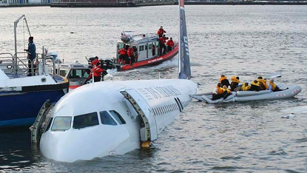 Life rafts are deployed in the event of a landing on water, as US Airways flight 1549 did on the Hudson River in New York on January 15, 2009.