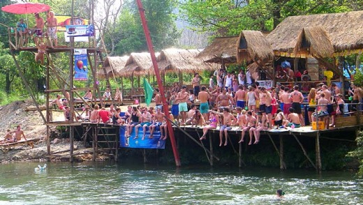 A riverside bar in Vang Vieng. Authorities have closed down seven bars after reportedly finding they were serving tourists alcoholic drinks laced with opium and hallucinogenic mushrooms.