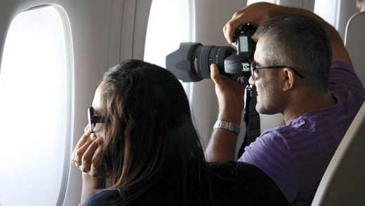 Camera at the ready on the 14-hour flight.