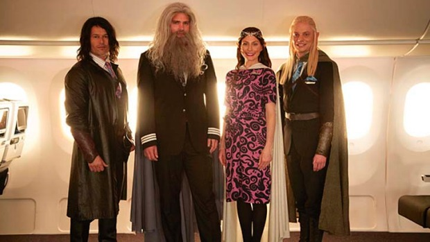 Air New Zealand crew wear Hobbit-themed outfits in a new safety video.