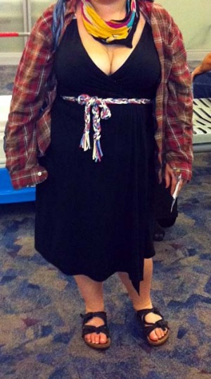 A woman named Avital poses for a picture at McCarran International Airport in Las Vegas, showing what she was wearing ...