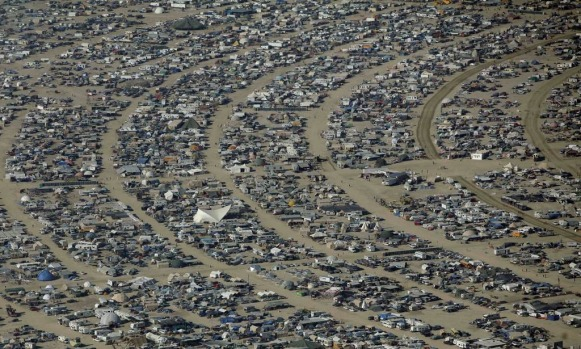 More than 60,000 people from all over the world have gathered at the sold out festival in the Black Rock Desert of Nevada .