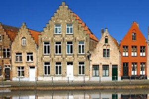 Houses along the canal, Bruges.