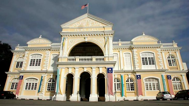 The colonial architecture of the Penang Town Hall.