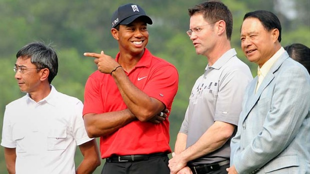 Club class ... Tiger Woods at a golf clinic at Mission Hills in Guangdong, China.