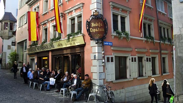 Explore ... Munstergasse is lined with cafes.