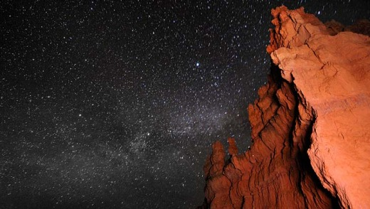 The Milky Way seen from the rock formations of Bryce Canyon.
