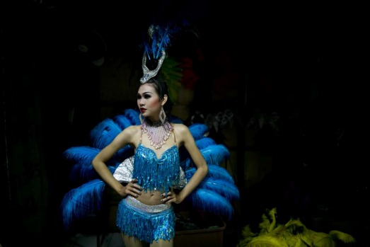 Dream, a ladyboy dancer poses before she goes on stage at the Chiang Mai Cabaret show.