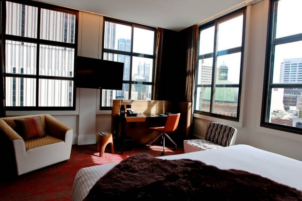 The TV in QT Sydney's rooms features free on-demand movies, including adult movies.