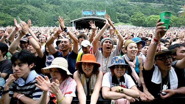 Order amid chaos ... fans at the the Fuji Rock festival.