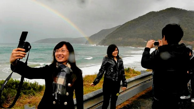 Chinese tourists on the Great Ocean Road.
