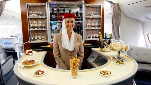 The bar in the business class Emirates' Airbus A380.