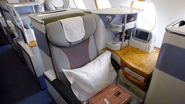 Business class seats on an Emirates A380.