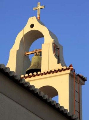 A church tower in Spetses, Greece.