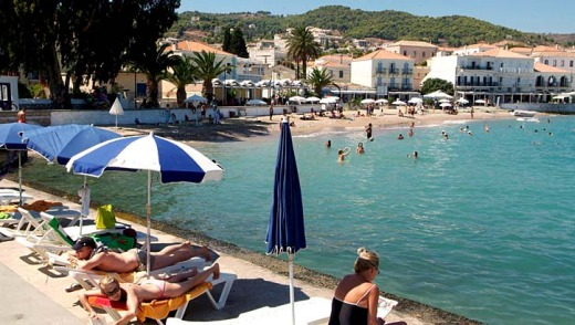 Spetses town beach, Greece.