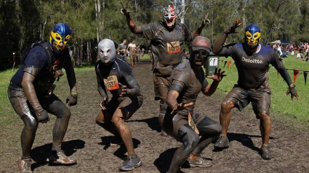 Competitors in the Tough Mudder event.