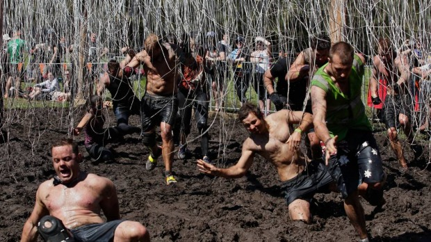 Competitors deal with 11, 000 volts in the Electroshock Therapy challenge.