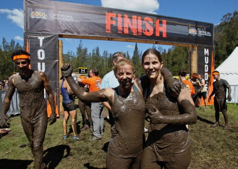 Competitors Nikki White, left, and Jacquelin Hedditch after finishing.