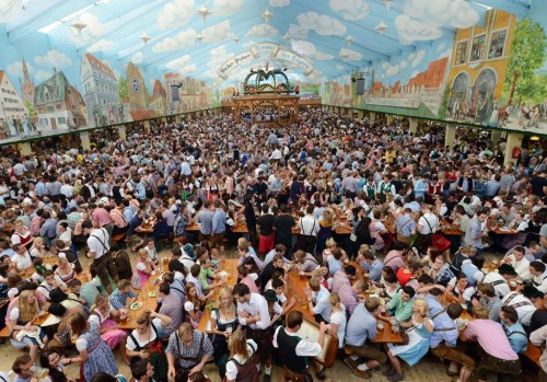 An Oktoberfest festival tent at the Theresienwiese festival grounds in Munich.