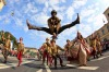 An actor performs during the Oktoberfest parade in Munich.