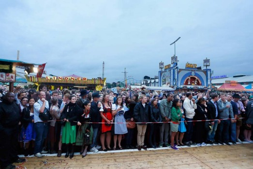 Revellers wait for entrance during day one of Oktoberfest.