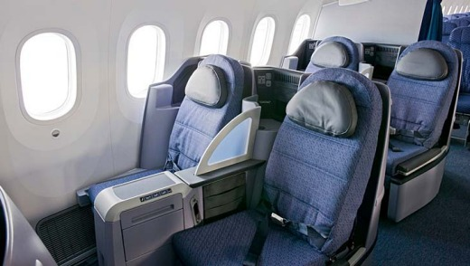 Business class seats on the United Airlines 787 Dreamliner.