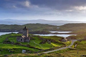 Loom with a view ... 15th-century St Clement's church on the Isle of Harris.
