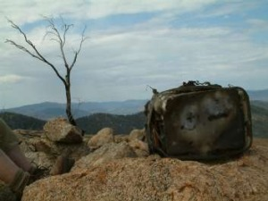 Burnt cache atop Booroomba Rocks in Namadgi National Park