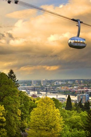High in the sky ... the Portland Aerial Tram.