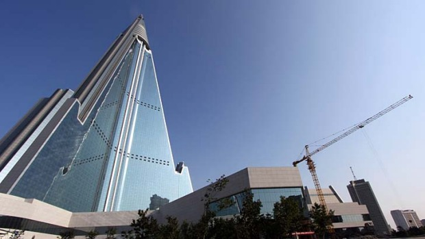 The Ryugyong Hotel in North Korea.
