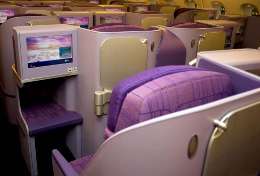Business class on board the Thai Airways A380. The superjumbos will have 12 first-class seats, 60 in business and 435 in economy. The new planes, which also feature bar areas, will replace 375-seat Boeing 747-400s that have been in service for more than 20 years.