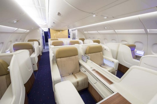 The first class cabin on the Thai Airways A380.