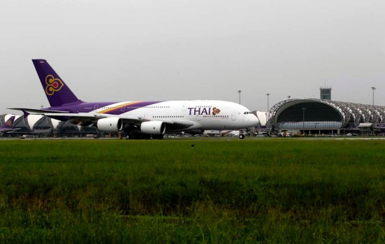 "The first Airbus Thai A380 superjumbo, bestowed with the royal name of ""Si Rattana,"" arrives at Bangkok's Suvarnabhumi International Airport."