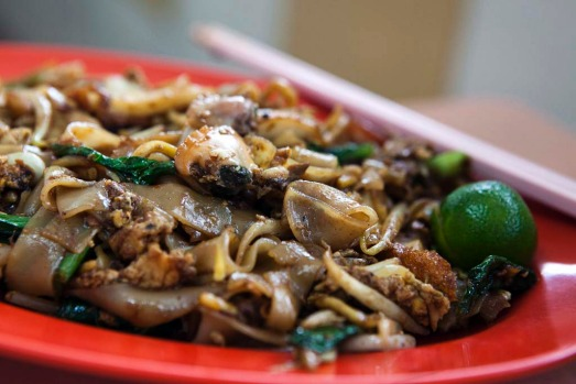 Char kway teow rice noodles. An addictive mix of fresh flat white noodles, lup cheong sausage, squid, fish cake and ...