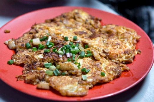 Oyster omelet. Known as or luak, this is a deliciously scorchy mix of egg batter, bean sprouts and fresh, juicy oysters ...