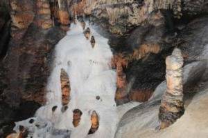 The 'snow' flowstone in Jersey Cave