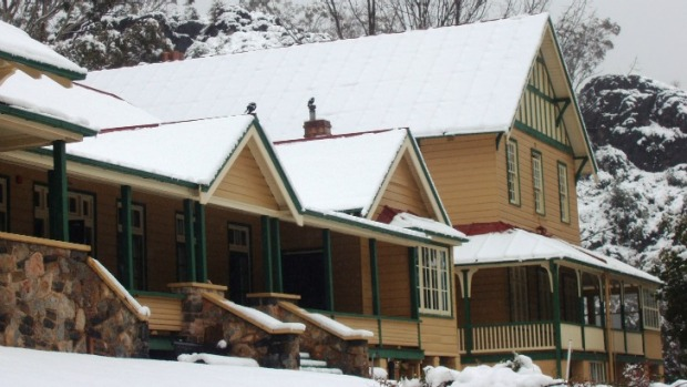 Caves House after a snowfall