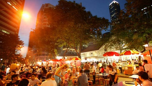 Streets ahead ... outdoor dinning at the Lau Pa Sat market.