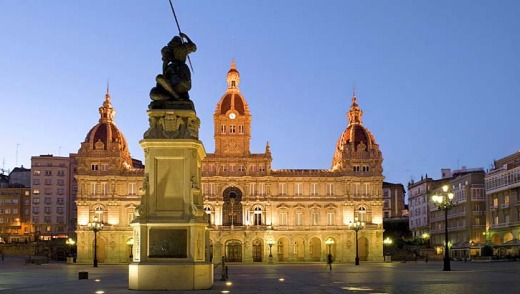 Historic ... Maria Pita Square in La Coruna, Spain.