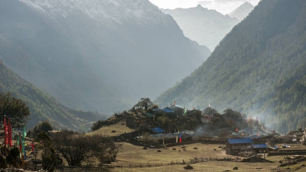 A village overlooking the valley near Lho on the Manaslu Circuit.