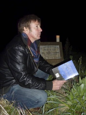 Ghost author JG Montgomery at historic Weetangera Methodist Cemetery.