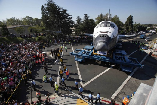 The Space Shuttle Endeavour is moved to the California Science Center in Los Angeles.