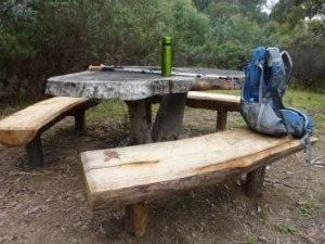 The welcome picnic table at the Mt Eliza saddle