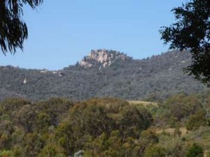 Gibraltar Peak viewed from Tidbinbilla Valley floor – a maze of rocks
