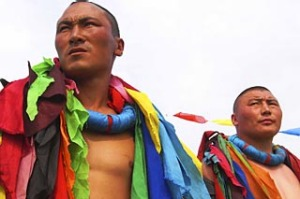 Desert ritual ... Mongolian wrestlers at a local festival.