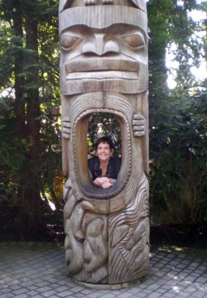 Pat Gotley enjoyed the totem poles.