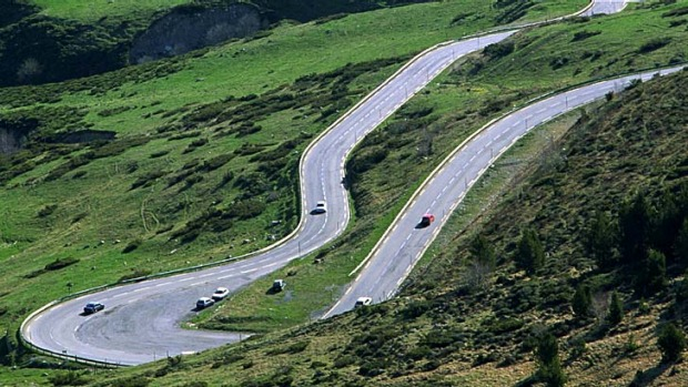Dressed to impress ... the winding roads of Andorra.