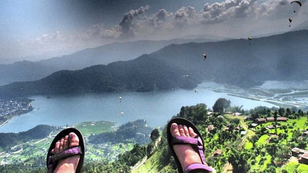"""We've run out of pilots"" ... Paragliding in Pokhara, Nepal."