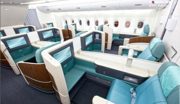 Business class on board a Korean Air A380. Korean Air has installed the smallest number of seats on its superjumbos, ...